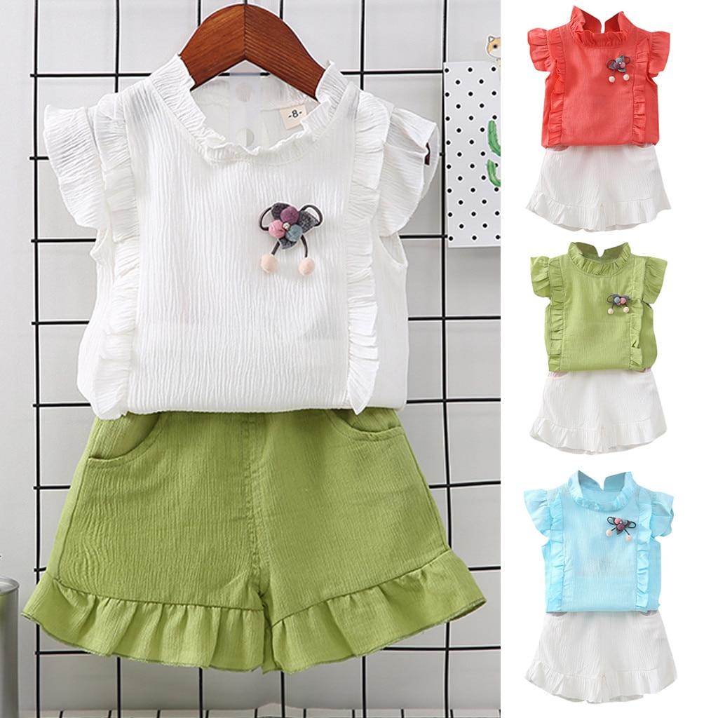 ISHOWTIENDA Toddler Kids Baby Girl Ruffled Pom T Shirt Tops +Shorts 2PCS Outfit Sets Summer Spring summer roupa de bebe terno @5