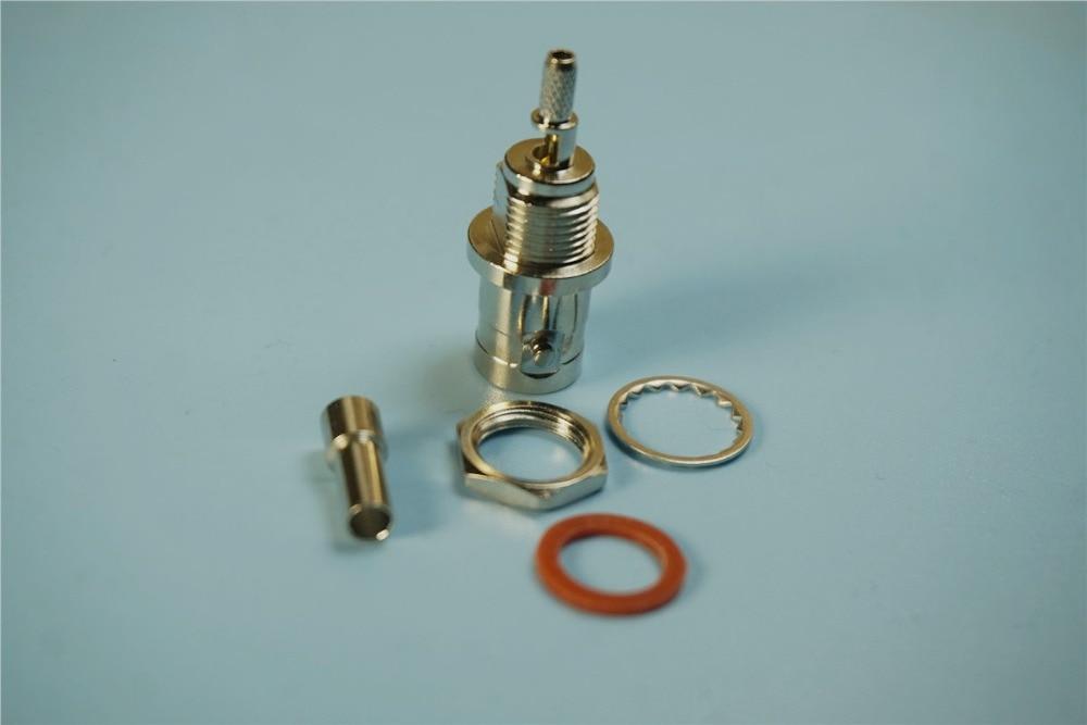 موصلات RF ، موصل BNC أنثى ، نوع تجعيد اللحام للكابلات المحورية RG316 ، جلبة ملولبة ، PTFE ، 100 قطعة