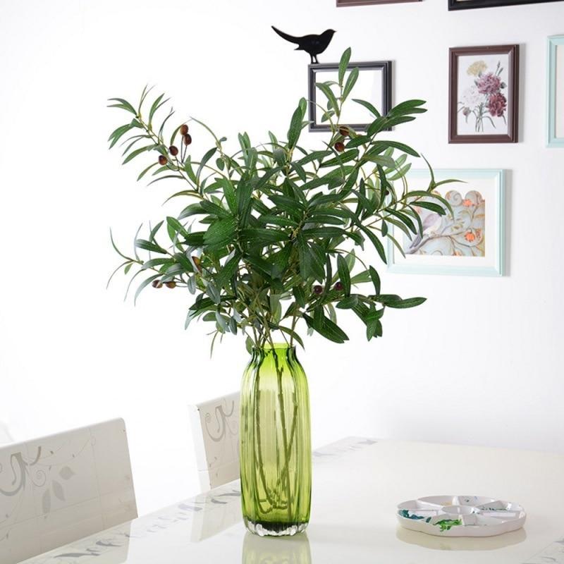 Ramas de hojas de olivo artificiales europeas de 95cm con hojas de olivo para decoración de boda o hogar flores verdes falsas