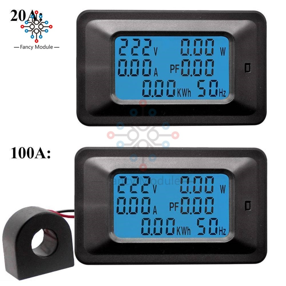 6 IN 1 LCD Digital AC 20A 100A 110V 220V Voltage Energy Meter Voltmeter Ammeter Power Current Panel Watt Combo Indicator