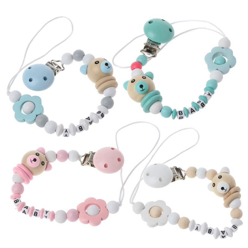 AliExpress - Baby Pacifier Clip Pacifier Chain Panda Shape Hand Made Cute Colourful Beads Dummy Clip Baby Soother Holder For Baby Kid