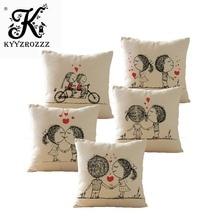 Sweet Couple Cushion Cover Home Decorative Pillows Case Square Cotton Linen Pillowcase Almohada for Seat Sofa Valentine Gift