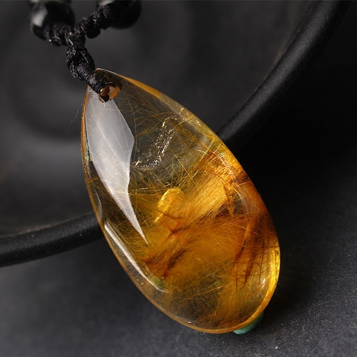 Pingente de cristal de quartzo rutilated ouro natural genuíno