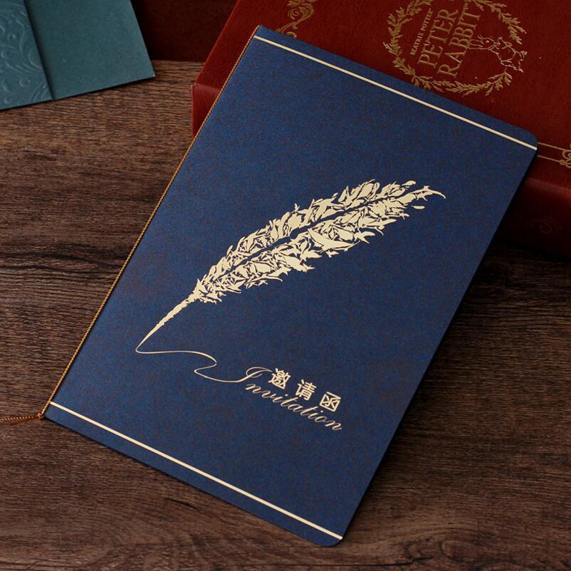 10 unids/lote de impresión de plumas tarjetas de invitación de boda de cumpleaños personalizado azul marino invitación de negocios suministros de fiesta