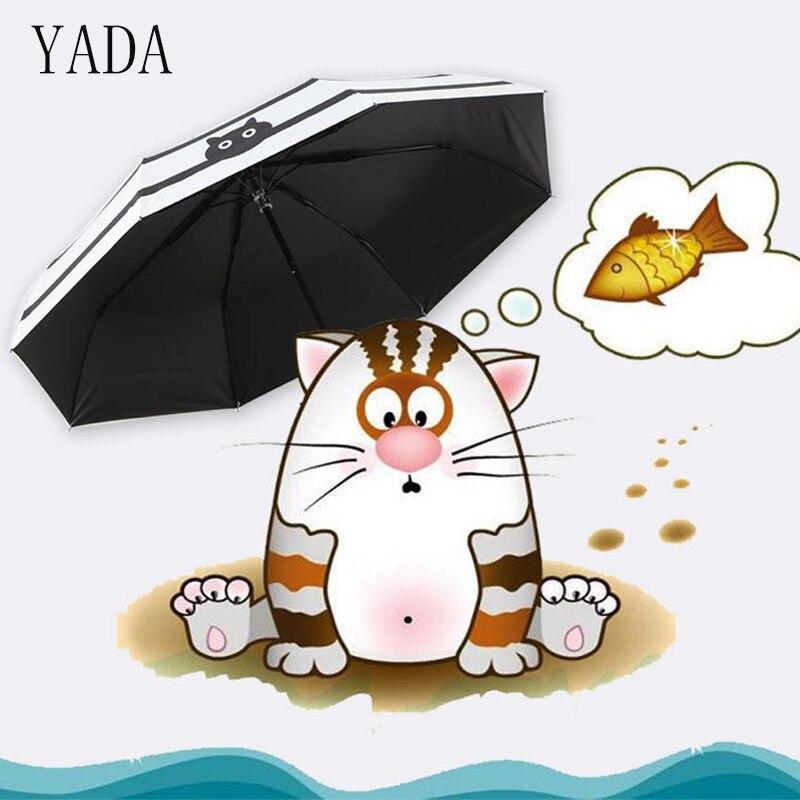 Qualidade para Mulheres uv de Alta Yada Gatos Peixe Encantos Padrão Folding Umbrella Chuva Mulheres Guarda-chuva Coréia Stripe Estilo Chuvas Ys427