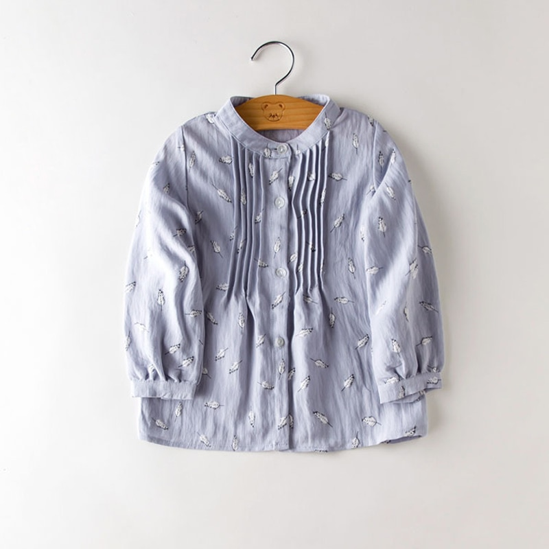 Primavera crianças roupas de manga longa da criança do bebê meninas camisa deixar impressão crianças blusa azul rosa escola camisas para a idade 3-8 t