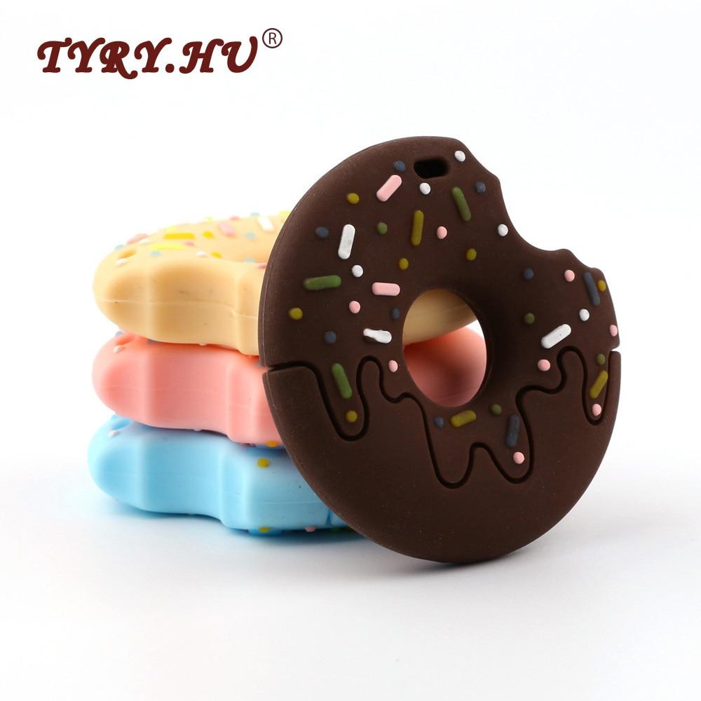 TYRY.HU-خرز تسنين سيليكون على شكل دونات للأطفال ، 100 قطعة ، خرز تسنين قابل للمضغ ، جودة طعام ، DIY