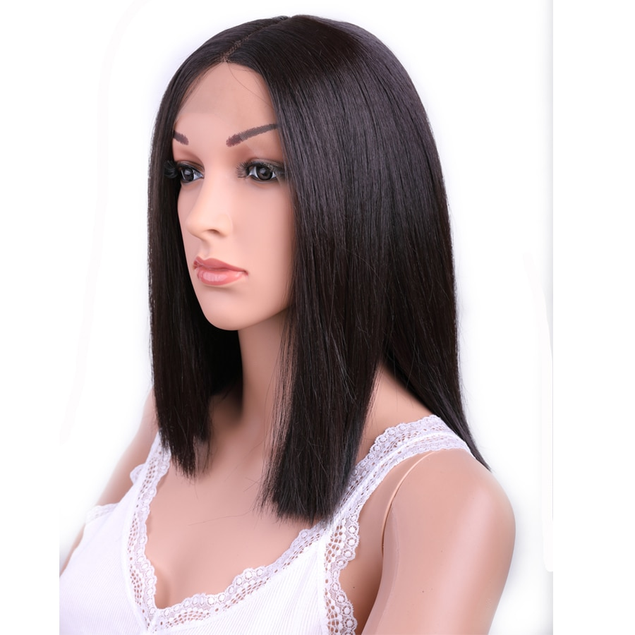 Sambarid Medium Lace Front Wig Heat Fire Resistant Hair Synthetic Straight Braiding Hair For Black and White Women Extensions
