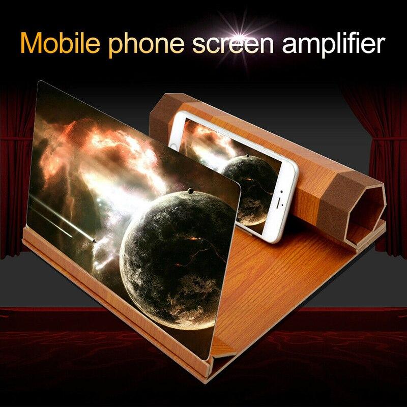 Lupa de pantalla de holograma de 12 pulgadas 3d películas de teléfono móvil inteligente grano de madera hd estereoscópica pantallas de smartphone soporte para lupa