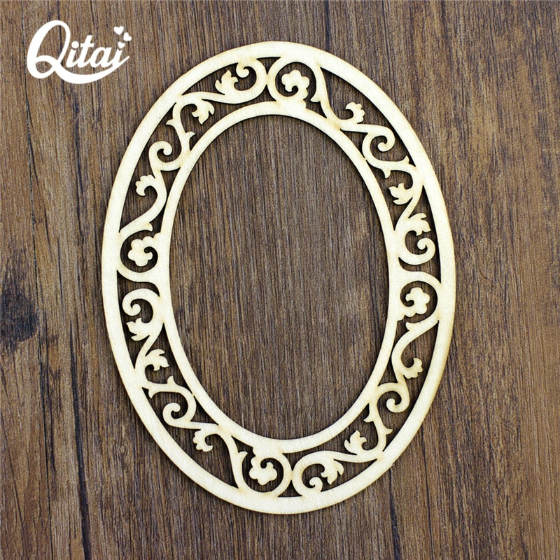 Marco de borde de encaje ovalado QITAI 12 Uds., adornos de virutas de madera con láser Natural, manualidades para álbum de recortes, tarjetas hechas a mano, álbum de arte WF290