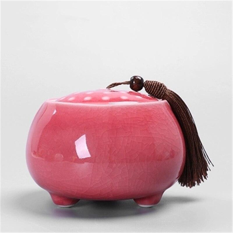La grieta de hielo de arena púrpura de cerámica del contenedor sellado de Longjing Puer Fambe jarras de té de cerámica color porcelana caja
