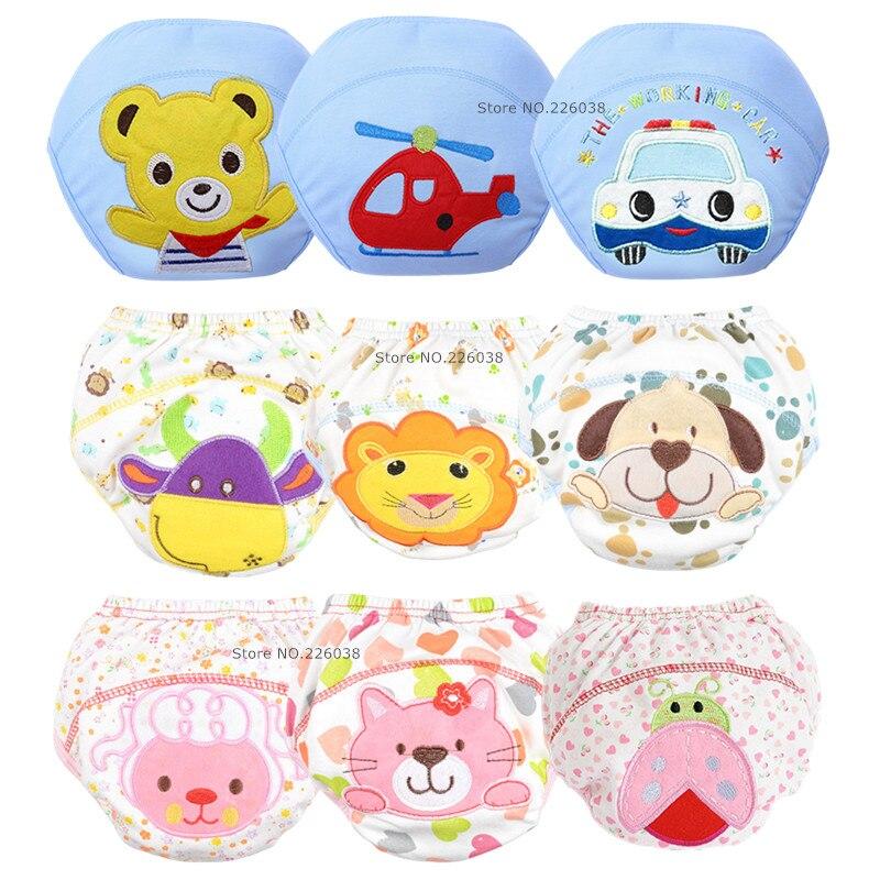5Pcs Lot NEW Baby Diapers Children Reusable Underwear Breathable Nappy Cover Cotton Training Pants QD05