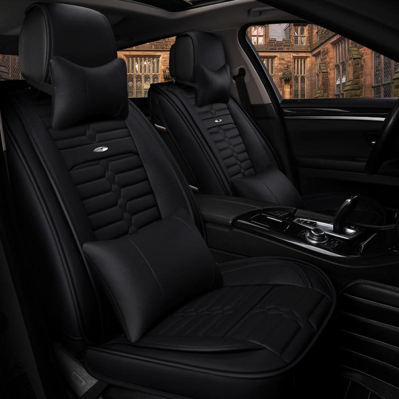 Funda de asiento de coche de cuero transpirable con 5 asientos (delantero + trasero) Estilo de coche para Toyota Camry 40 RAV4 Verso FJ Land Cruiser LC 200 Pra