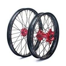 BIKINGBOY 21*1.6 19*2.15 MX Front Rear Wheel Rims Complete Hub 36 Spokes for Honda CR 125 CR 250 02-13 CRF 250R CRF 450R 04-13