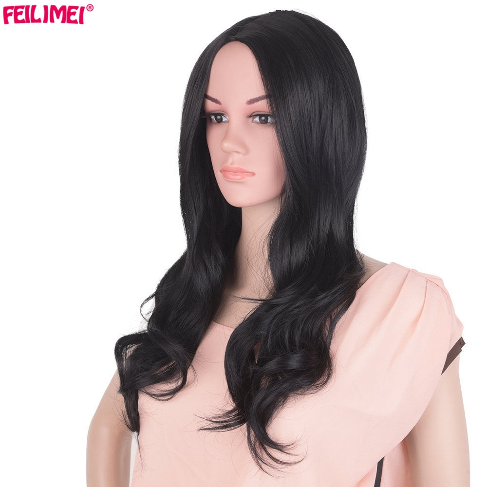 Feilimei, pelucas de fibra sintética de alta temperatura Ombre, 55cm, 250g, largo ondulado, cabeza completa, pelucas de Cosplay negras y rubias para mujeres