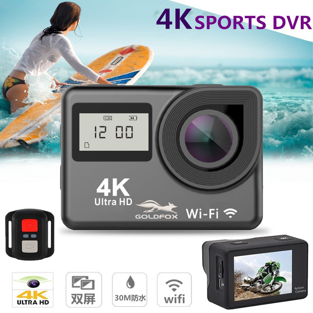 4K Action Camera WiFi Sport Camera Touch Dual Screen 12MP 30M Underwater Waterproof 170° Wide Angle Outdoor Sport Helmet Camera