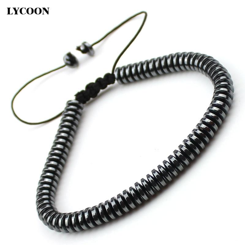 Fashion round wafer black health HEMATITE beads bracelets DIY hand made strand men bracelets length can choose size adjustable
