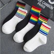 6 colores harajuku calcetines de arcoíris cortos arte mujeres moda algodón blanco penes Hipster dibujo animado coloreado tobillo Calcetines Mujer