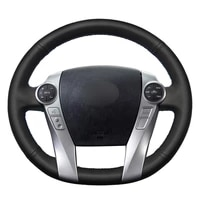 hand sewing black pu artificial leather car steering wheel covers wrap for toyota prius 30xw30 2009 2015 prius cus2012 2017