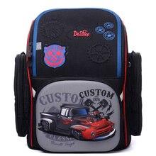 Delune Brand Factory Kids Primary School Backpack Waterproof Orthopedic School Bag Children 3D Cars Schoolbag Boys Girl