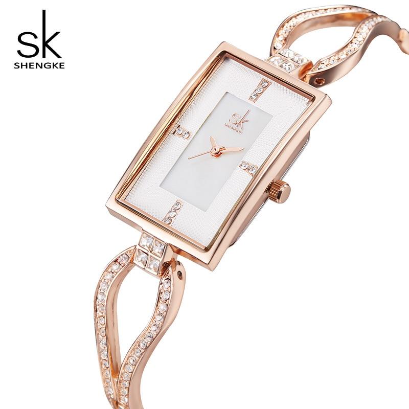 Shengke relojes rectangulares creativos Mujer marca de lujo diamante Dial pulsera Relojes señoras cuarzo Reloj 2019 Reloj Mujer # K0021