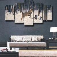Moderne maison mur decor Deers toile peinture oeuvre nous salon deco Elk imprime 5 pieces animaux cuadros