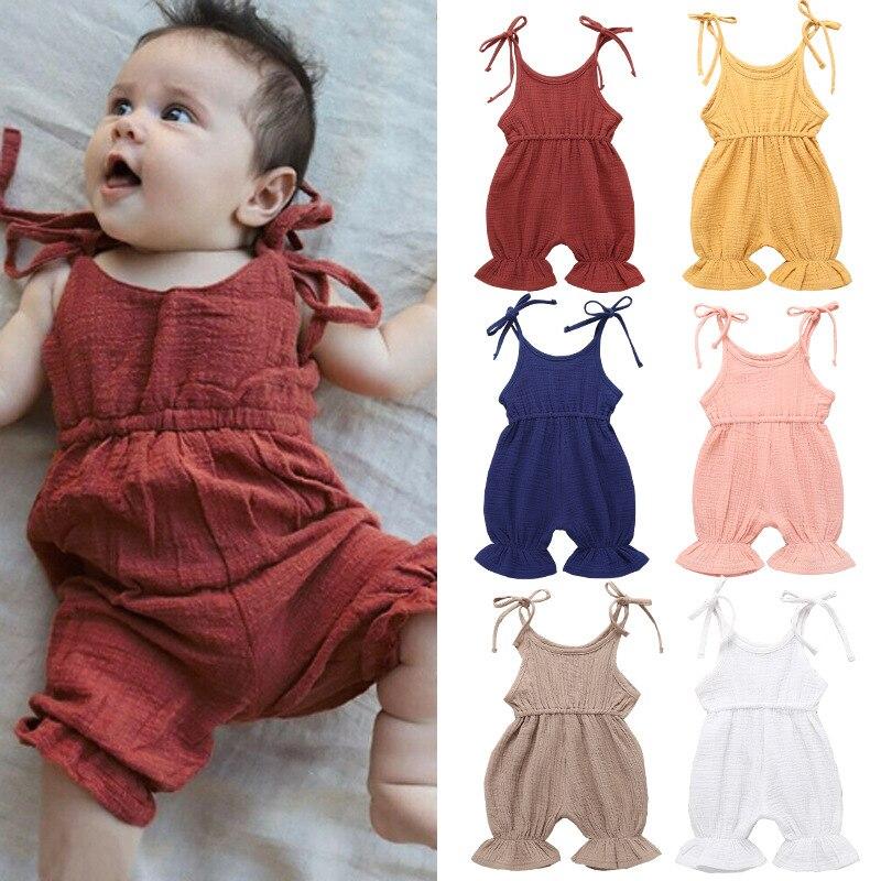 Милый однотонный льняной комбинезон с оборками для маленьких девочек, комбинезон, наряды, сарафан для новорожденных, детская одежда, детска... сарафан для девочек