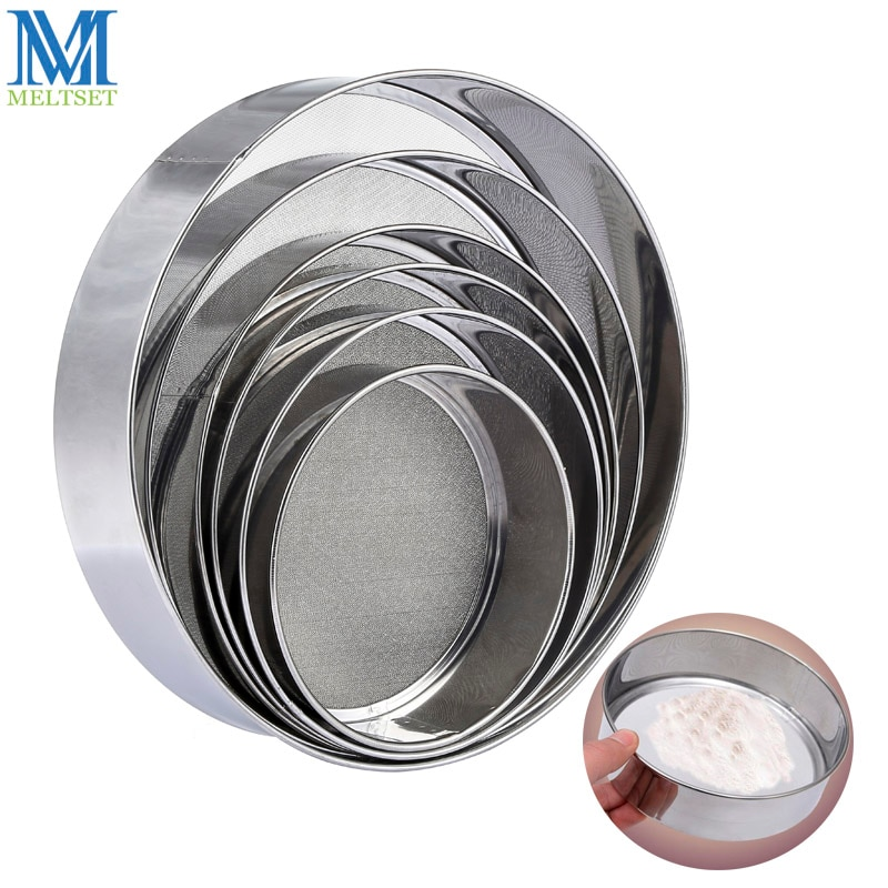 Meltset 6pcs/Set Stainless Steel Fine Mesh Flour Sieve Set Round Shape Wheat Flour Filter Strainer Cake Baking Kitchen Tool
