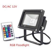 1 pièces Réflecteur Led RVB Projecteurs DC/AC12V 10 W Inondation Éclairage IP65 Projecteurs Extérieurs + Télécommande Spot Jardin
