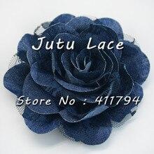 25 pices/lot   3.75 pouces, fleurs en denim shabby, fleurs en dentelle de denim faites à la main pour vêtements, accessoires de mode pour coiffe de tête
