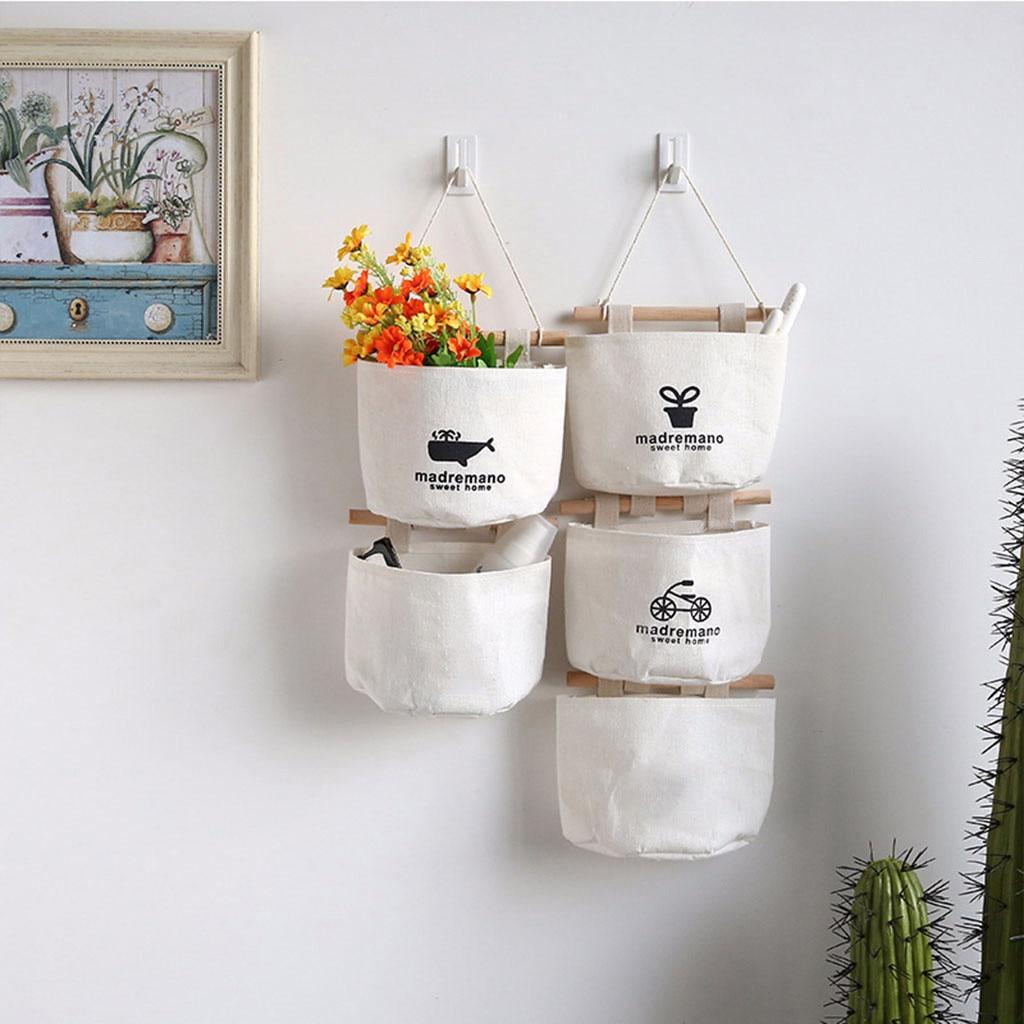 Nuevo patrón de lino de algodón bolsa de almacenamiento 3 bolsillos montado en la pared de la bolsa para colgar en el armario de pared bolsa cosmética organizador de juguetes 2020