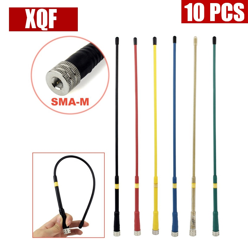 Xqf 10 pces fp405 dupla banda 144/430mhz vhf/uhf yaesu handset alto ganho antena macia sma-m