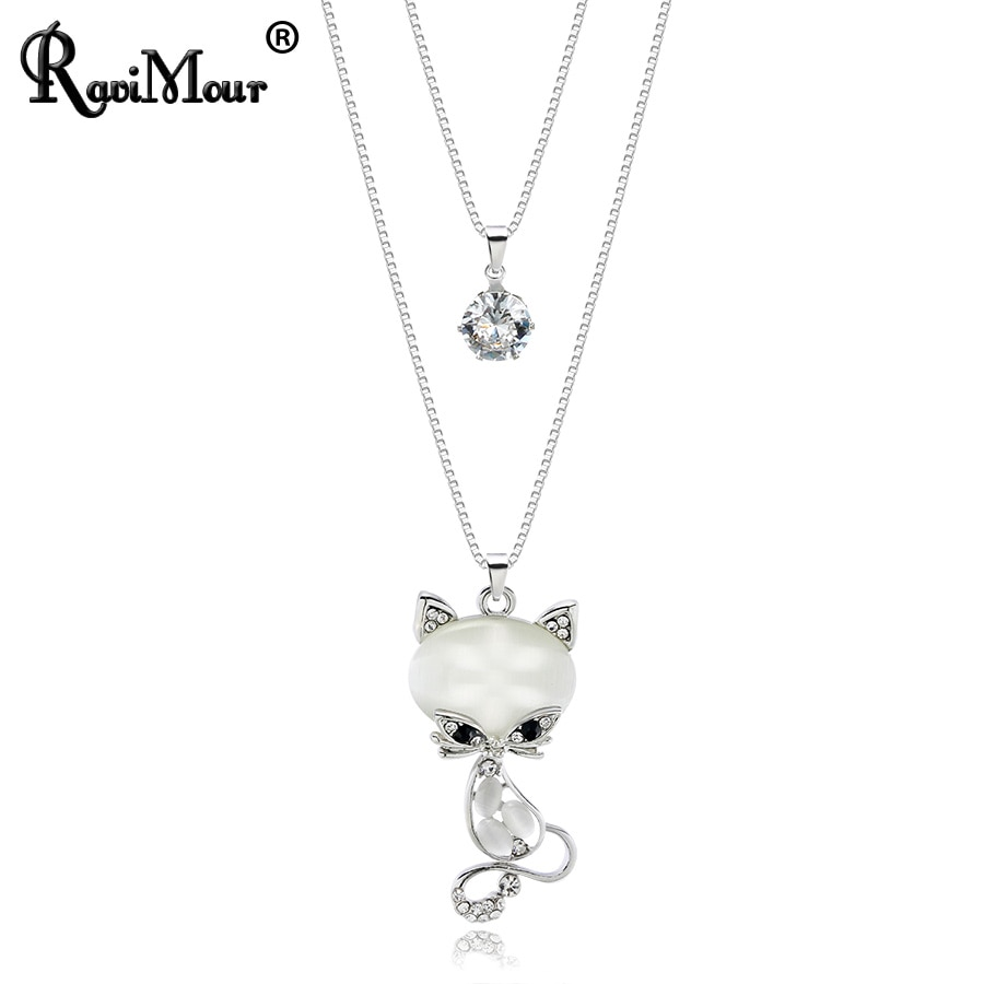 Collares y colgantes bonitos de RAVIMOUR con diseño de gato, gargantilla de capas dobles, joyería de moda para mujer, collar de cadena larga con ópalo de cristal