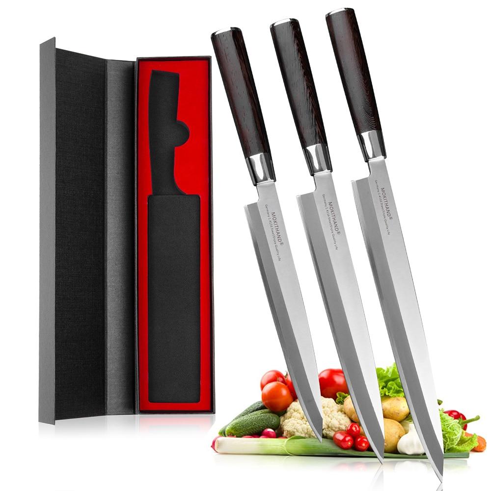 Mokithand-سكاكين تقطيع السوشي اليابانية ، فولاذ مقاوم للصدأ ، ياناجيبا ، ألماني ، فولاذ عالي الكربون ، 1.4116