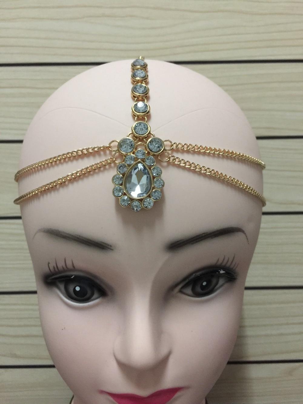 Hermosa pieza de cabeza india de piedra Kundan hecha a mano de estilo de cabello matha patti