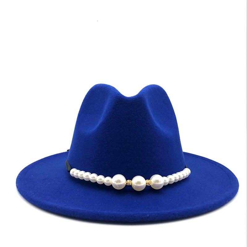 Nuevos sombreros de fieltro, sombreros tiroleses de mujer con cinturón de perlas, gorros de fieltro Vintage, sombrero de fieltro de lana cálido, sombrero de Jazz, sombrero de mujer, Sombrero de Panamá