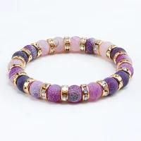 1pcs classic colorful purple love crystal beaded chakra yoga bracelet female natural stone beads bracelets women men jewelry hot