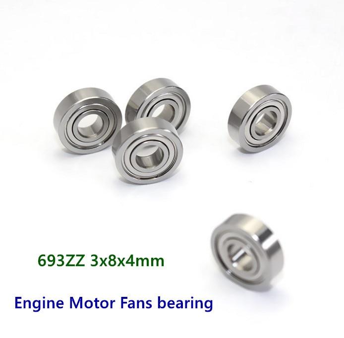 100pcs 693ZZ 3*8*4 R-830ZZ  Engine Motors Fans bearings 619/3ZZ  693 -2Z  3x8x4 mm miniature shielded steel ball bearing