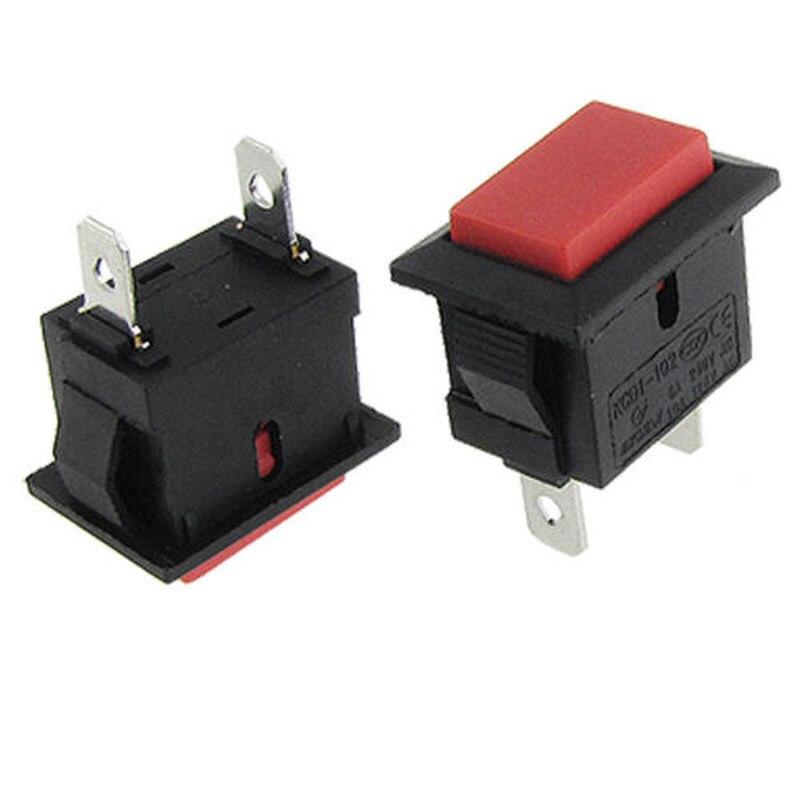 Yocomily 20 piezas 2 pines rojo NO SPST botón momentáneo interruptor 6A/250V 10A/125V AC
