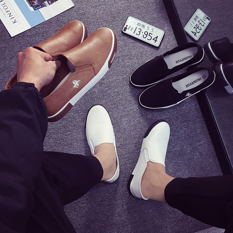 Купить с кэшбэком Plus size 39-45 Mens Shoes Outdoor Men Loafers Walking Shoes 2019 Fashion Black Men Casual Shoes Men Leather Shoes For Men Flats