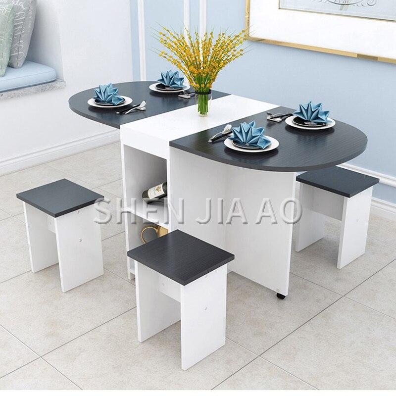 للطي طاولة الطعام المنزل الحديثة الحد الأدنى 4 الناس شقة صغيرة طاولة الأكل متعددة وظيفة جولة الجدول 1 قطعة