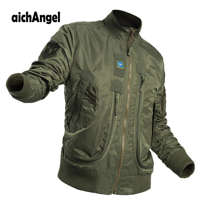 Chaqueta militar táctica para hombres, Ma-1 Parka de piloto, chaqueta Bomber militar de combate a prueba de viento con múltiples bolsillos, prendas de vestir Airsoft de combate, abrigo