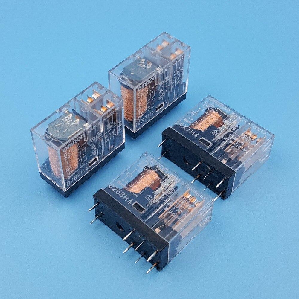 10 pces omron G2R-2 dc12v 24 v 8pin pwb montagem dpdt relé de potência 5a/250vac