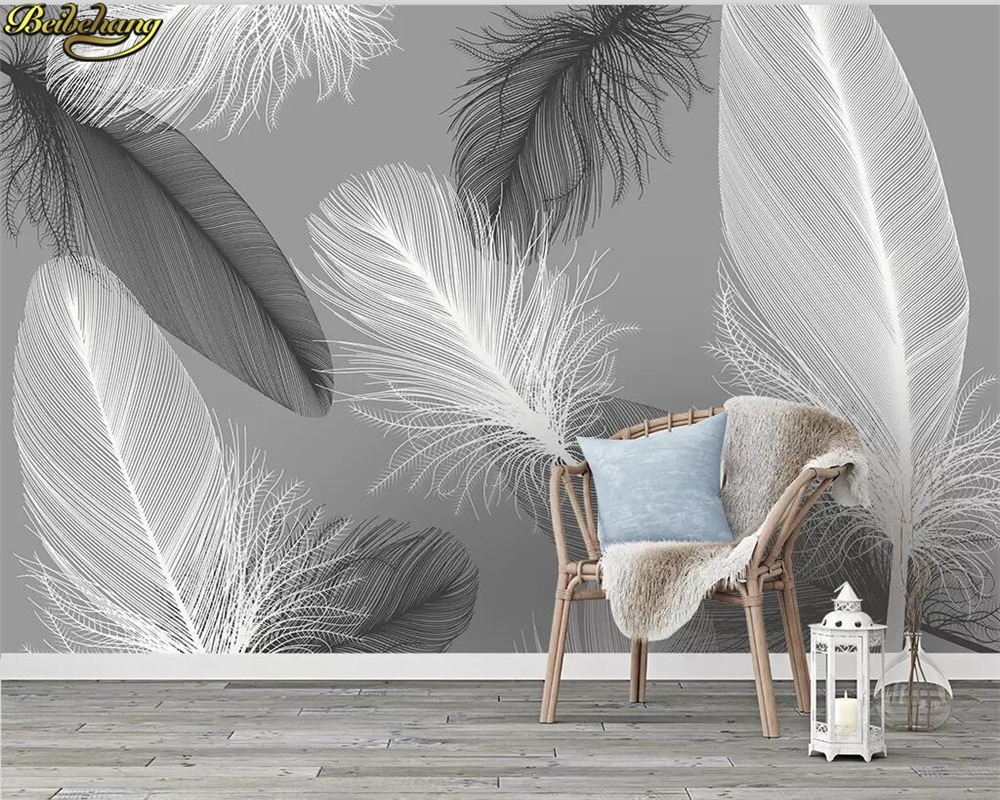 beibehang Custom wallpaper 3d mural modern nordic feather background wall papers home decor papel de parede 3d wallpaper beibehang custom wallpaper 3d retro diamond wall living room bedroom restaurant wall papers home decor papel de parede wallpaper