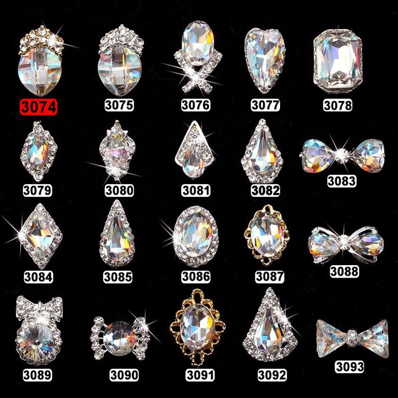 100pcs Alloy AB Side Rhinestones 3D Nail Art Decor Shiny Diamond Crystal Rhinstone For Nail Jewelry 3d Nail Art DIY Charms c9