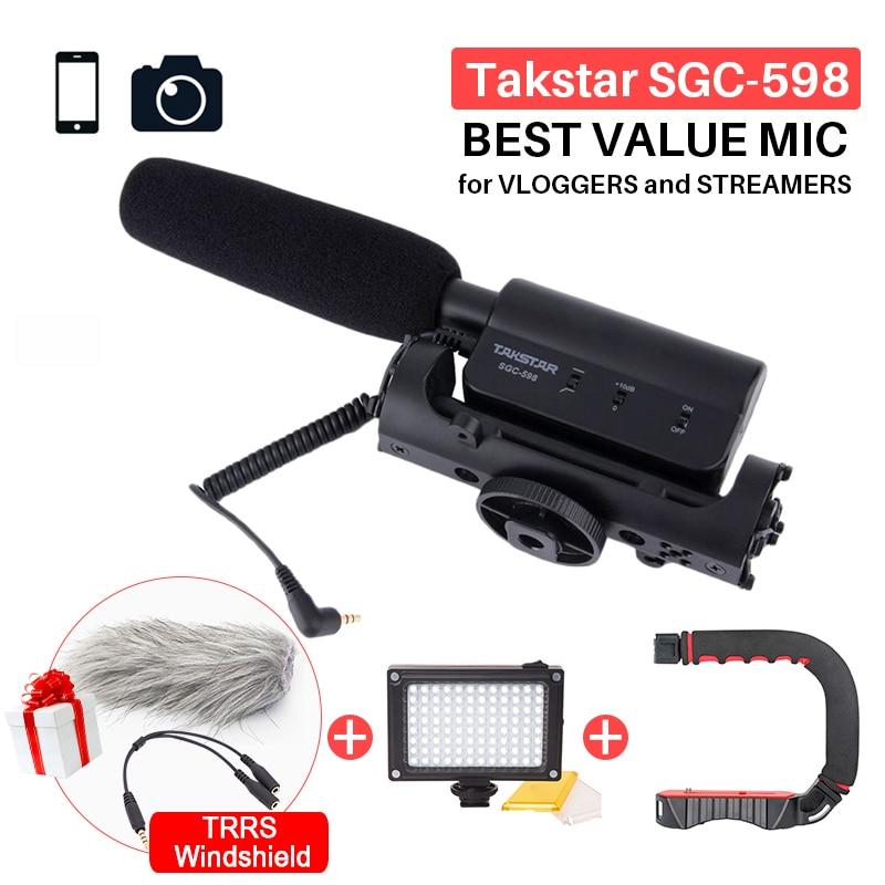 Takstar SGC-598 photographie Interview fusil de chasse micro Microphone pour Nikon Canon DSLR appareil photo DV caméscope pour Vloggers/vidéomaker