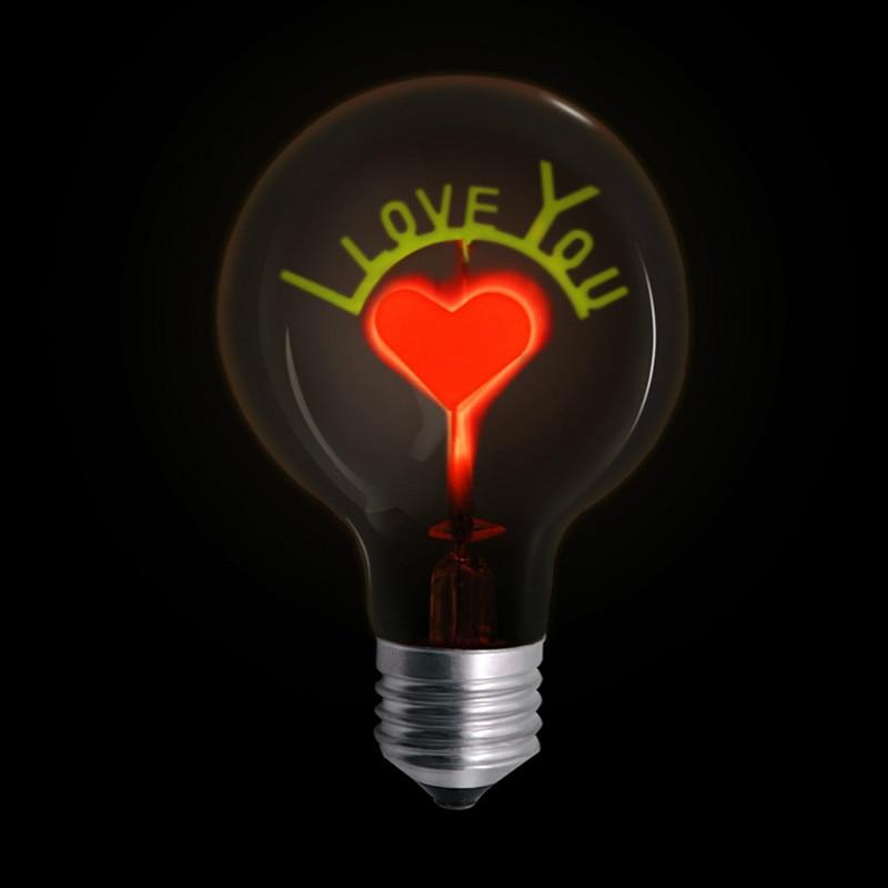 Новинка винтажная лампа накаливания 3 Вт 220 В ретро лампы Эдисона Украшение Света G80 E27 I LOVE YOU Rose Рождественская свадьба