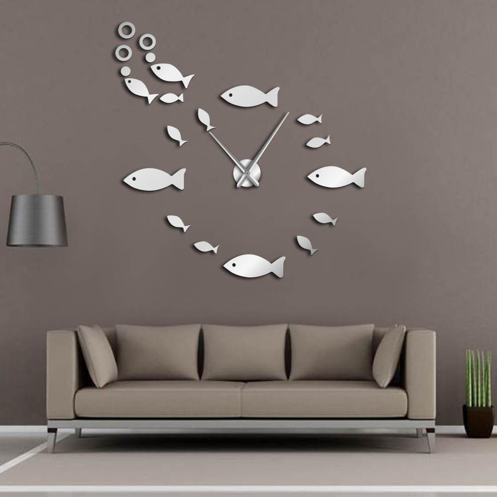 Гигантские настенные часы «сделай сам», «рыбка с пузырьками», зеркальный эффект, домашний декор, аквариумные украшения, большие игольчатые ...
