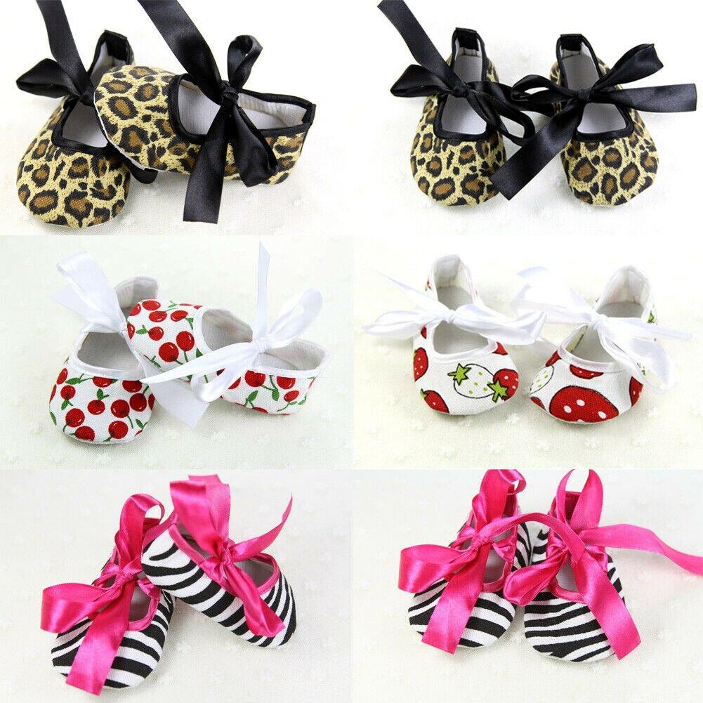 Newborn Baby Girls Bowknot Dress Shoes Soft Sole Pram Anti-slip Prewalkers