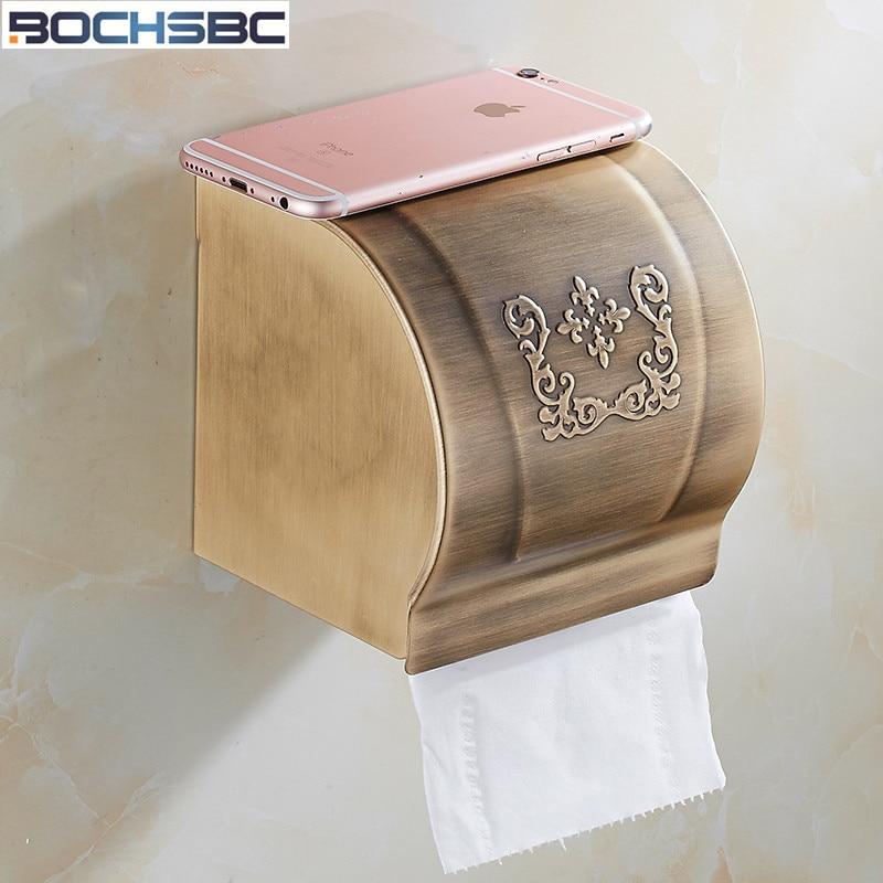 Caja de papel BOCHSBC Europea Toilder, accesorios de baño de aleación de aluminio y oro, caja de soporte de papel impermeable